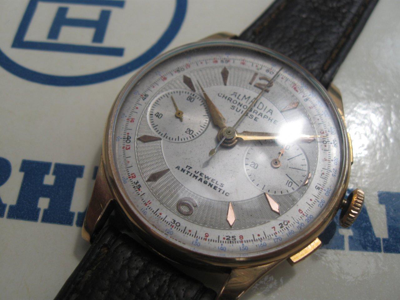 ALMADIA Chronograph Suisse Vintage Bronze Watch Dial ...