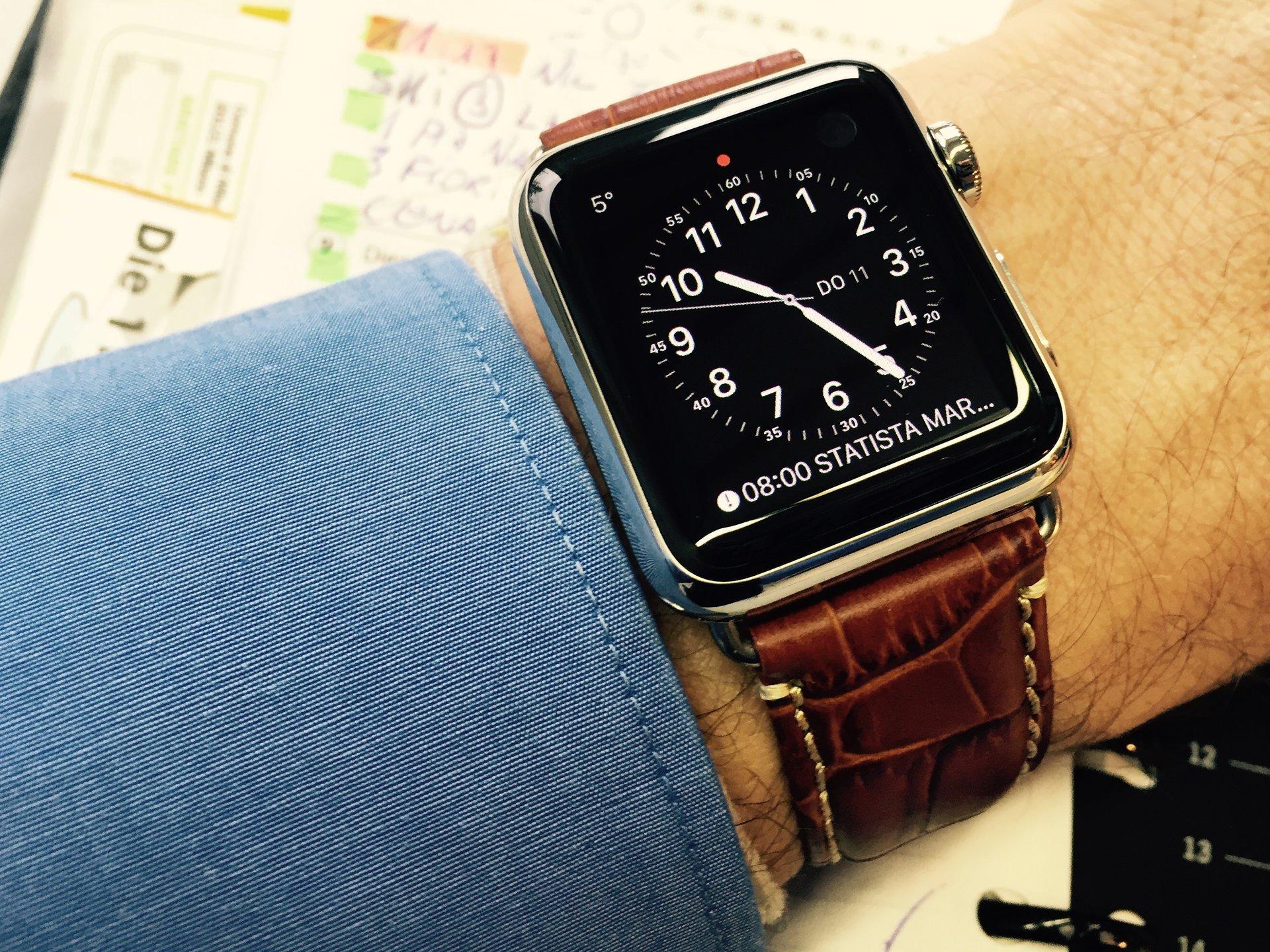 erledigt apple watch edelstahl 38 mm komplett mit rechnung und lederarmband uhrforum. Black Bedroom Furniture Sets. Home Design Ideas