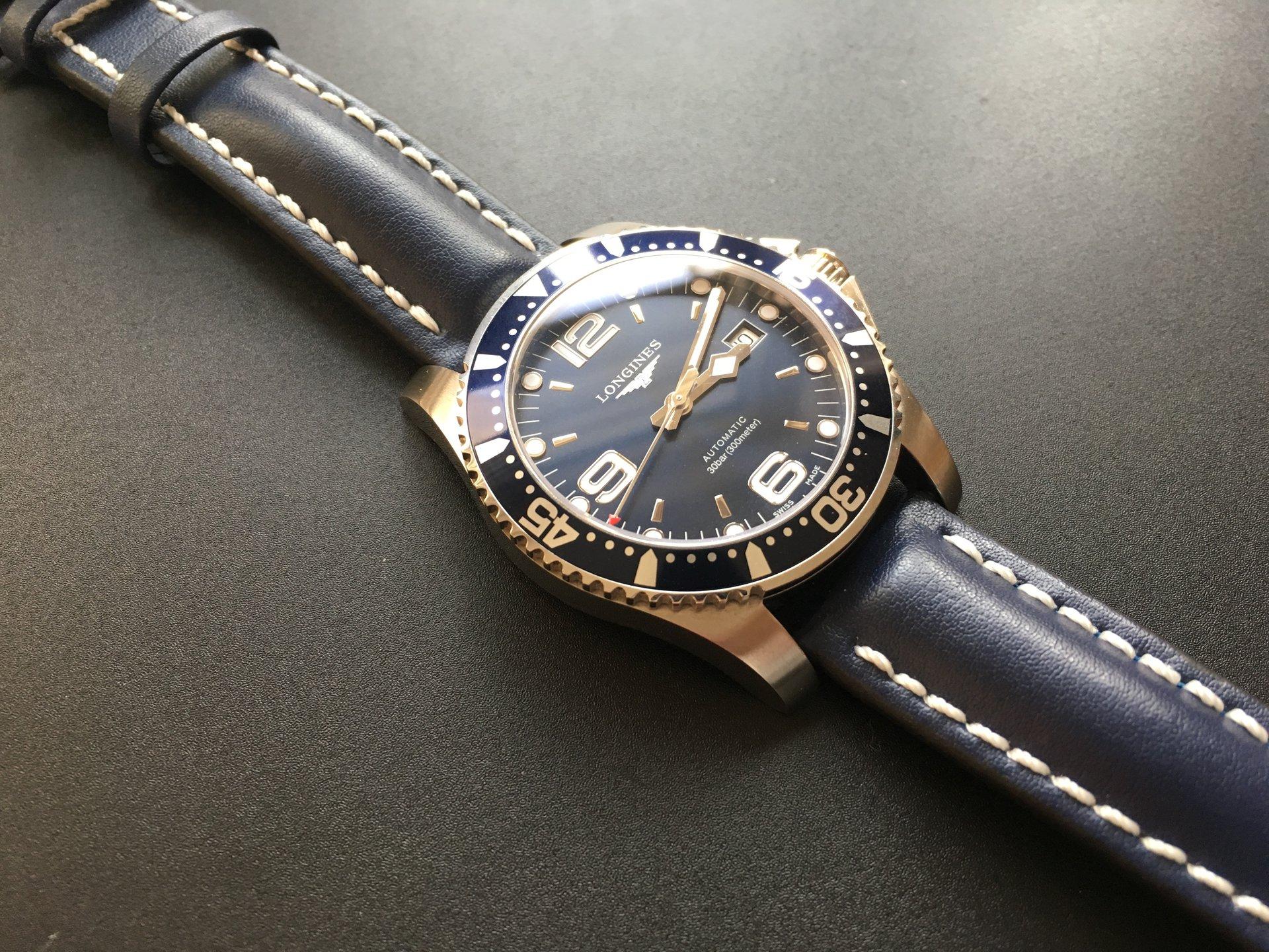 Longines Hydroconquest Automatic >> Longines Hydroconquest / Automatic / Blau - Hirsch Armband - UhrForum