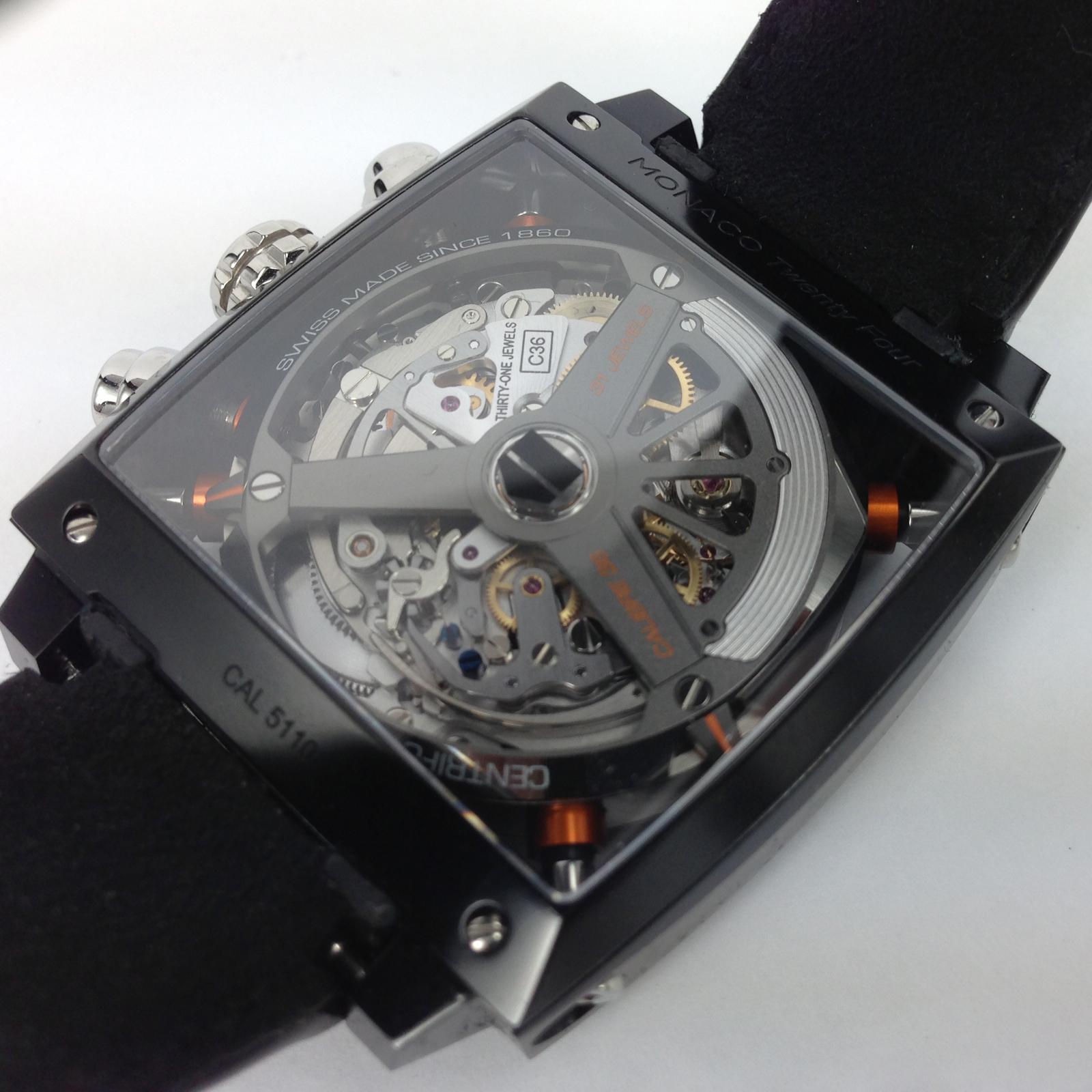 tag heuer monaco 24 calibre 36 mens black strap watch журнала
