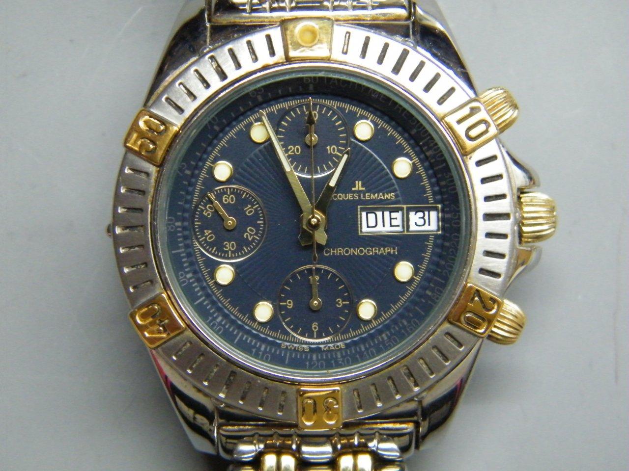 verkauf jacques lemans chronograph stahl gold valjoux 7750 uhrforum. Black Bedroom Furniture Sets. Home Design Ideas