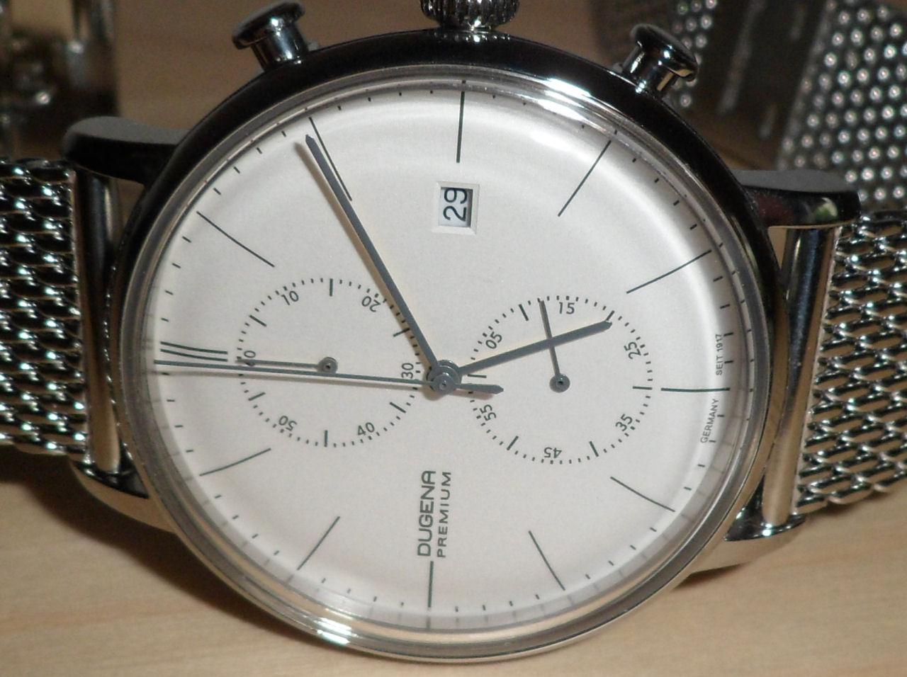 Dugena premium dessau chronograph bauhaus inspired watch for Replica bauhaus
