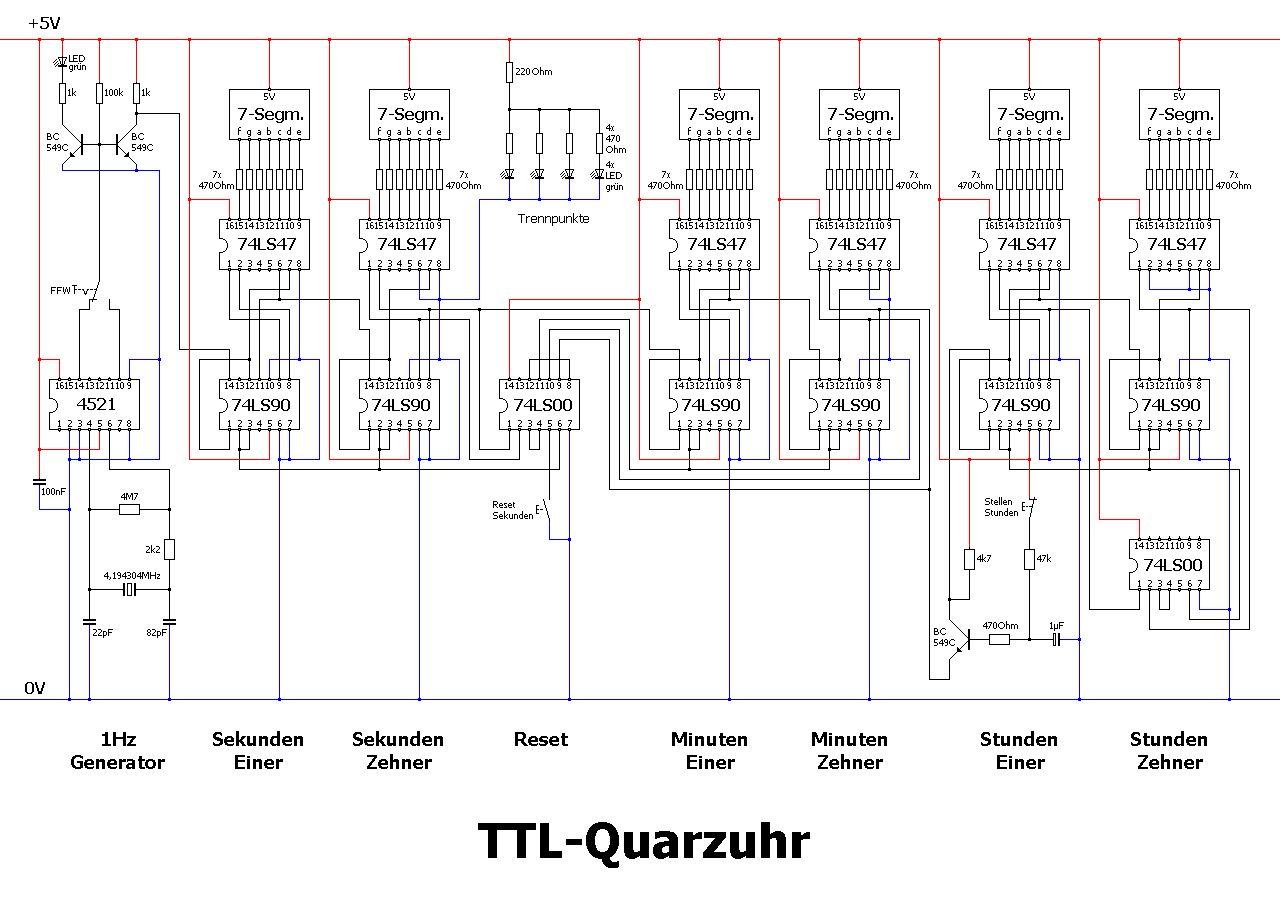 modular aufgebaute ttl quarzuhr im eigenbau uhrforum. Black Bedroom Furniture Sets. Home Design Ideas